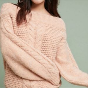 Sleeping on Snow   Pink Off Shoulder Cable Sweater